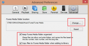 iTunes Advanced Settings