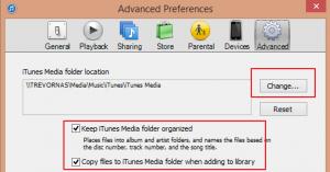 iTunes Advanced Settings
