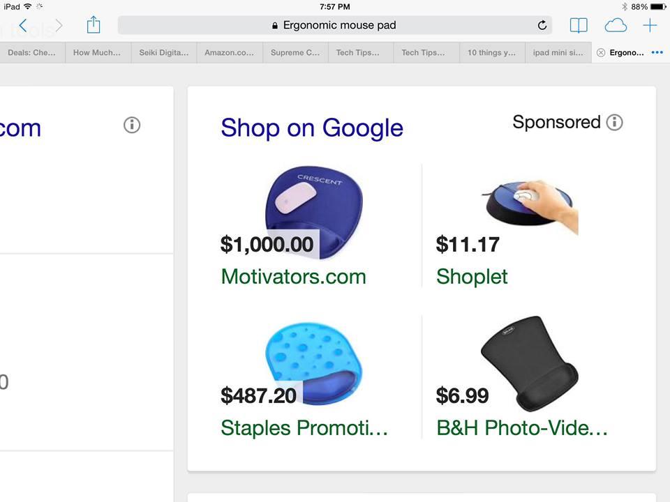 Google Product Listing Ad Fail - PLA Fail