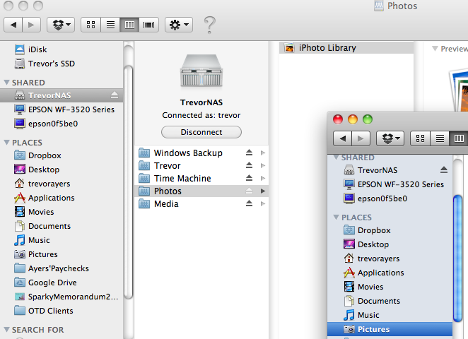 Transfer iPhoto Library to Network Drive