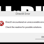 DirectX Encountered an Unrecoverable Error - Advanced Warfare