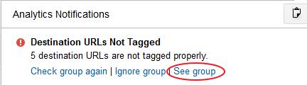 Destination URLs Not Tagged Google Analytics Alert