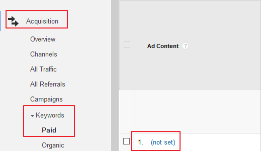 Not Set Traffic in Google Analytics