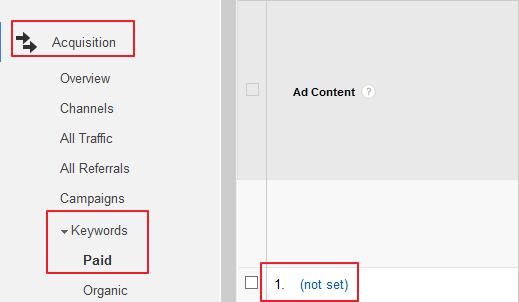 Not Set Traffic in Google Analytics