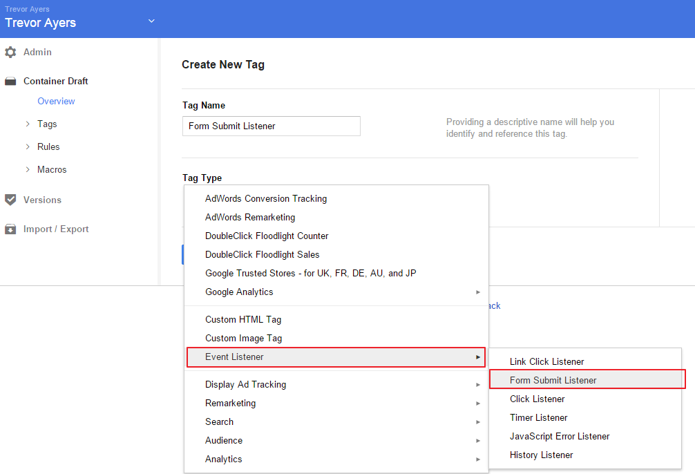 Form Submit Listener Google Tag Manager Tag