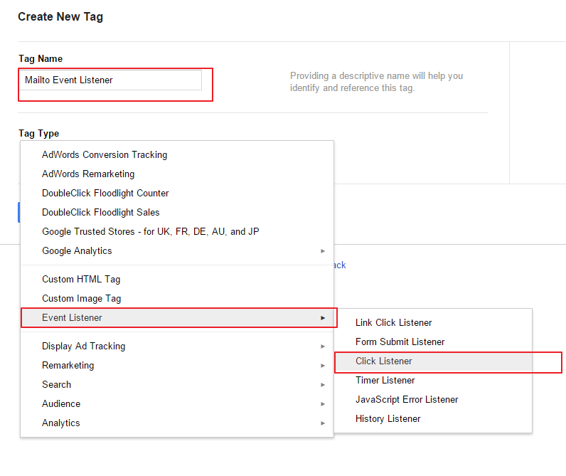 Set Google Tag Manager Mailto Event Tag as Click Listener