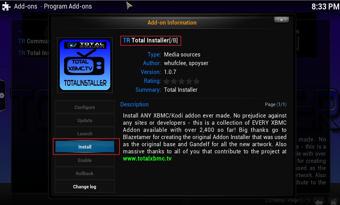 Total Installer Install Kodi