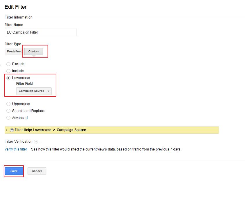 Force lowercase medium filter Google Analytics