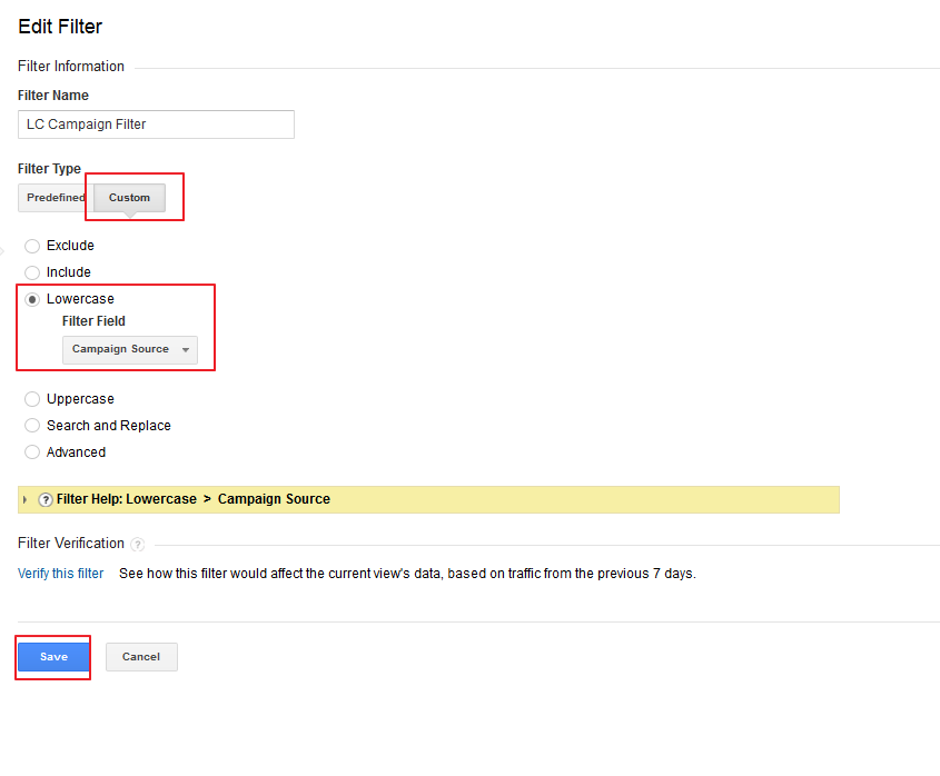 Force lowercase source filter Google Analytics