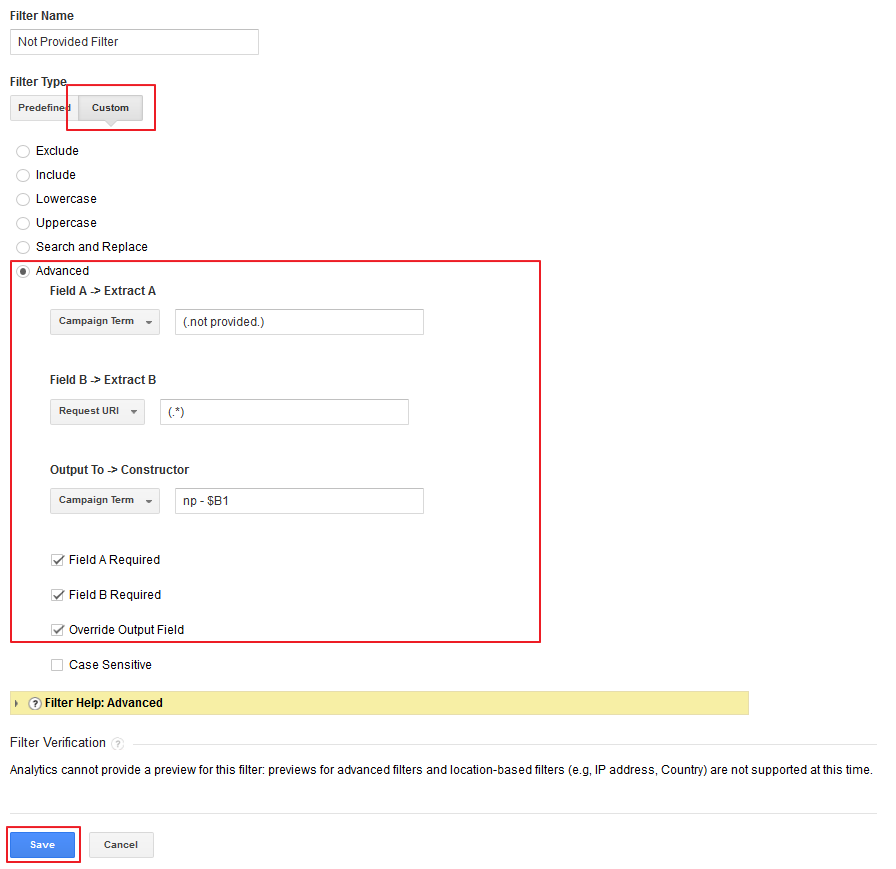 Not provided filter Google Analytics