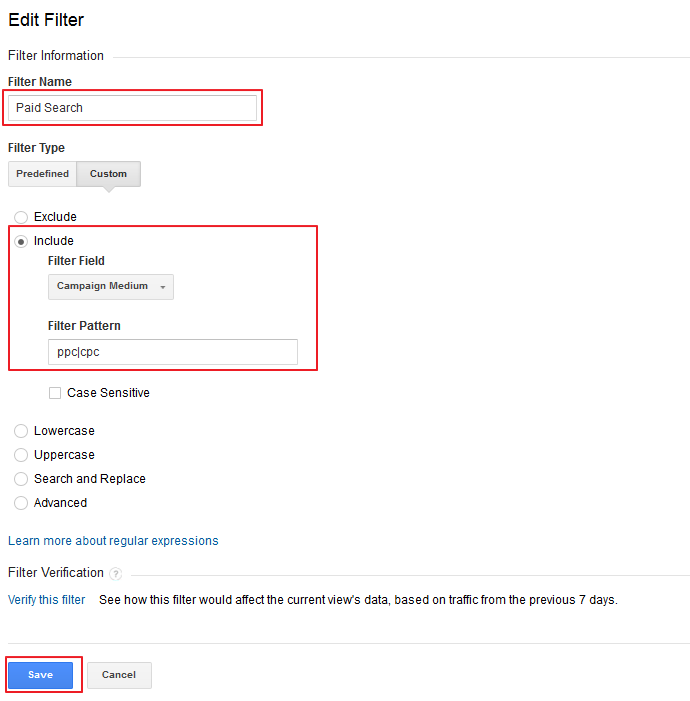 Paid Search Google Analytics Filter