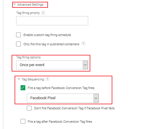 Add Facebook conversion tag